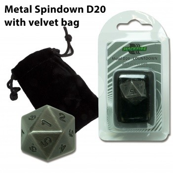 D20 Metal Countdown with velvet bag - Antique Silver - Metallwürfel