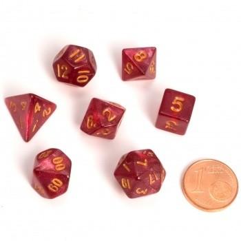 Fairy Dice RPG Set - BiColor Marbled Red (7 Dice) - Rollenspielwürfel