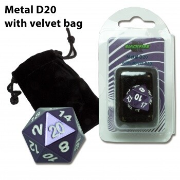 D20 Metal with velvet bag - Purple Random - Metallwürfel