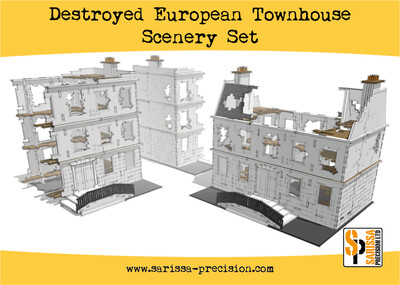Destroyed European Townhouse Scenery Set - Sarissa