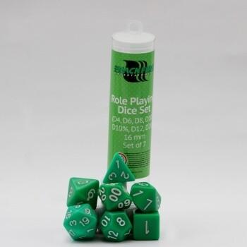 16mm Role Playing Dice Set - Green Grün (7 Dice) - Rollenspielwürfel