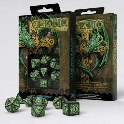 Celtic 3D Revised Black & green Dice Set (7) - Q-Workshop