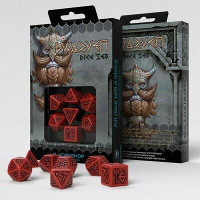 Dwarven Red & black Dice Set (7) - Q-Workshop