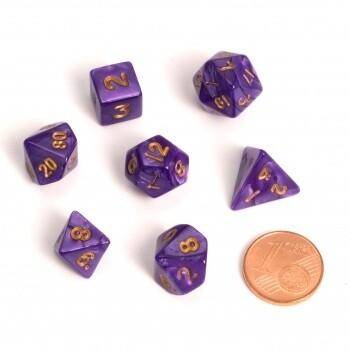 Fairy Dice RPG Set - Marbled Purple (7 Dice) - Rollenspielwürfel