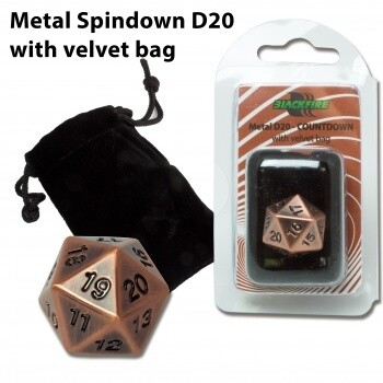 D20 Metal with velvet bag Spindown Countdown - Antique Copper - Metallwürfel