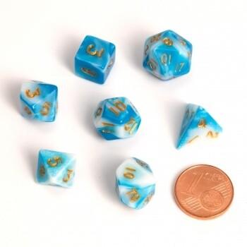 Fairy Dice RPG Set - BiColor Blue White (7 Dice) - Rollenspielwürfel
