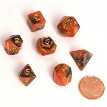 Fairy Dice RPG Set - BiColor Black Orange (7 Dice) - Rollenspielwürfel