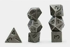 Solid Metal Dark Metal Color Polyhedral 7-Die Set - Metallwürfel
