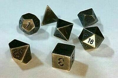 Solid Metal Old Brass Color Polyhedral 7-Die Set - Metallwürfel