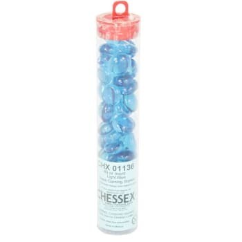 Light Blue Glass Gaming Stones (40+) - Chessex