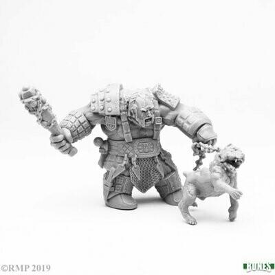 Fire Giant Huntsman w/ Hell Hound - Bones - Reaper Miniatures