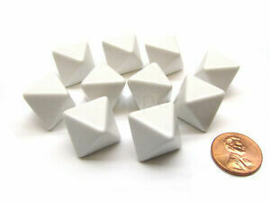 Bag of 10 D8 White Blank Opaque Polyhedral Dice - Chessex