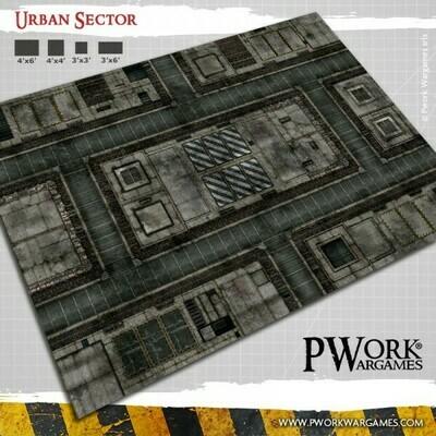 Urban Sector - Wargames Terrain Mat PVC Vinyl - 4x6 - PWork Wargames