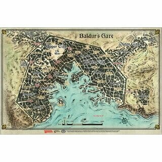D&D Descent Into Avernus -Baldur's Gate Map (23' x 17') - Dungeons and Dragons
