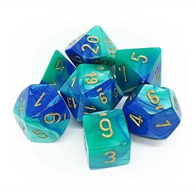 Blue-Teal/gold Gemini - 7-Die Set (7) - Chessex