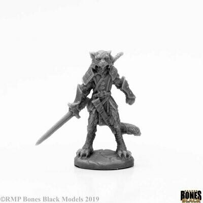 Mal, Catfolk Warrior - Bones Black - Reaper Miniatures