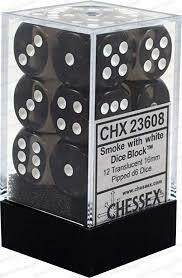 Smoke whit White Dice Block - Translucent 16mm D6 Dice Block™ (12) - Chessex