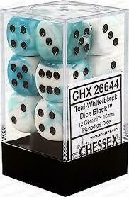 Teal-White/black - 16mm (12) - Chessex