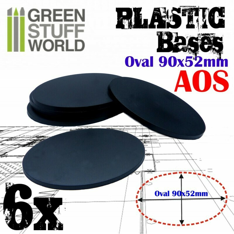 90x52mm AOS Oval Kunststoffbasen (6x) - Greenstuffworld