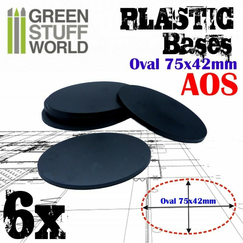 75x42mm AOS Oval Kunststoffbasen (6x) - Greenstuffworld