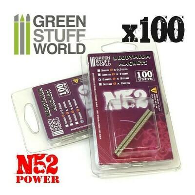 Neodym-Magnete 3x1mm - 100 stück (N52) - Greenstuff World
