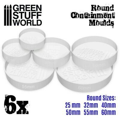 6x Durchscheinende weiße Auffangformen für Sockel - Runde - Round Moulds - Greenstuff World