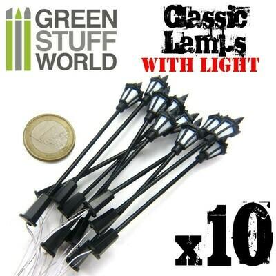 10x Klassische Strassenleuchten mit LED Classic Lamps - Greenstuff World