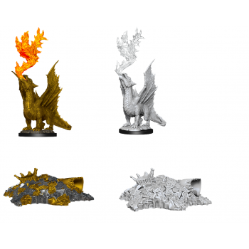 D&D Nolzur's Marvelous Miniatures - Gold Dragon Wyrmling & Small Treasure Pile