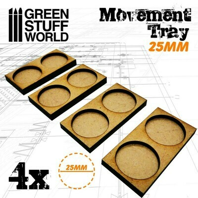 MDF Regimentsbases 25mm 2x1 - Skirmish Lines - Greenstuff World
