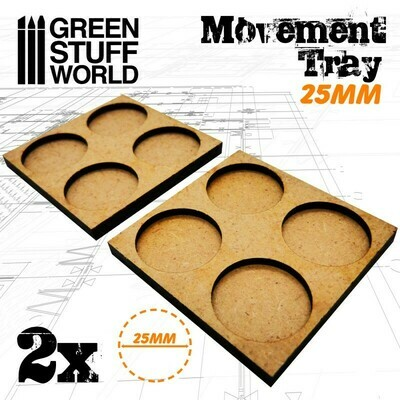 MDF Regimentsbases 25mm 2x2 - Skirmish Lines - Greenstuff World