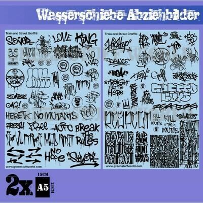 Wasserschiebe Abziehbilder - Züge und Graffiti Mix - Schwarz - Decals - Greenstuff World
