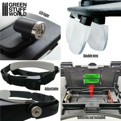 Profi-Kopfbandlupe mit Wechselgläsern und Licht - Hobby Headlight Magnifying Glasses - Greenstuff World