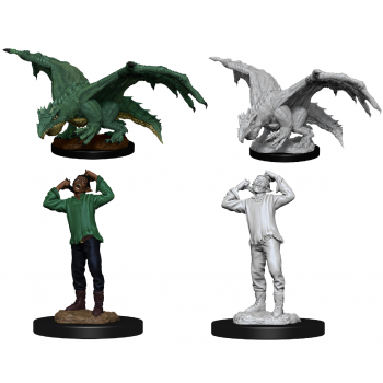 D&D Nolzur's Marvelous Miniatures - Green Dragon Wyrmling & Afflicted Elf