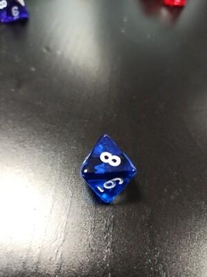W8 Würfel - D8 Dice - Translucent - Blue Blau