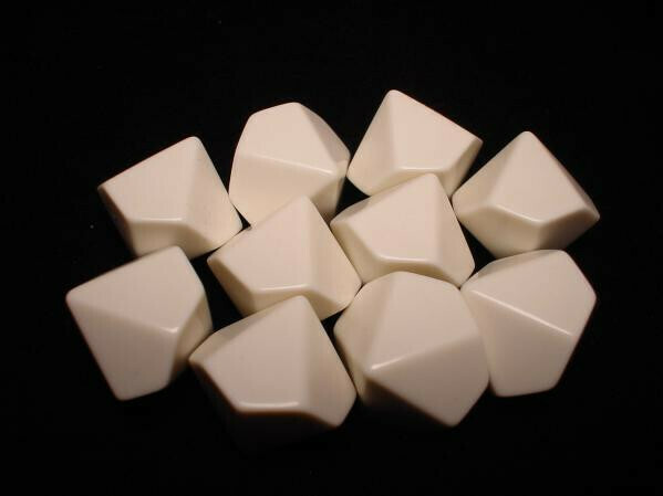 Bag of 10 D10 White Blank Opaque Polyhedral Dice - Chessex