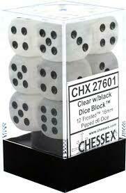 Clear w/black (12) - Chessex