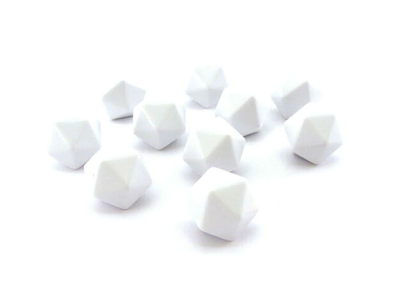 Bag of 10 D20 White Blank Opaque Polyhedral Dice - Chessex