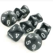 Frosted smoke/white - Opaque Set of Ten D10's (10) - Chessex