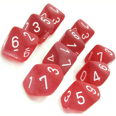 Frosted Red/white - Opaque Set of Ten D10's (10) - Chessex