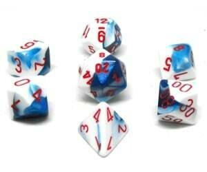 Astral Blue-White/red Gemini - 7-Die Set (7) - Chessex
