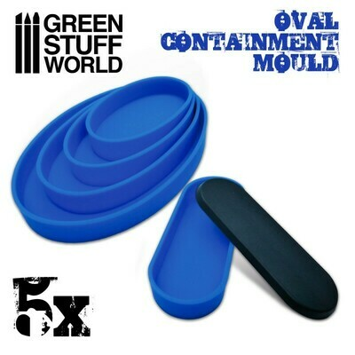 5x Containment Moulds for Bases - Oval - Round - Greenstuff World