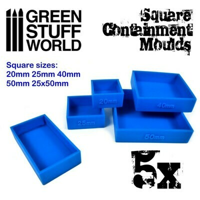 5x Containment Moulds for Bases - Square - Greenstuff World