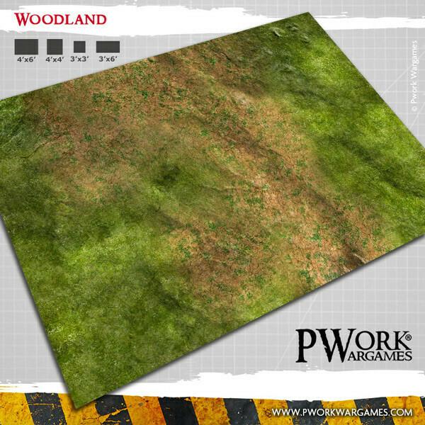 Woodland 4'x6'- Wargames Terrain Mat Rubber- PWork Wargames