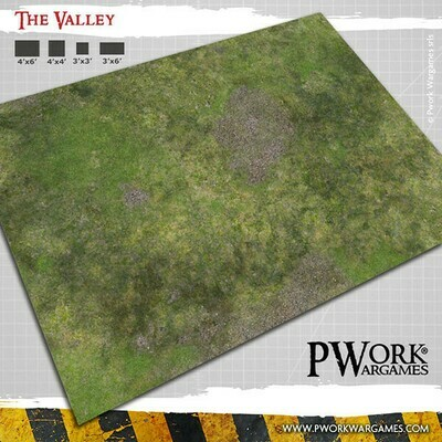 The Valley 4'x6'- Wargames Terrain Mat Rubber- PWork Wargames