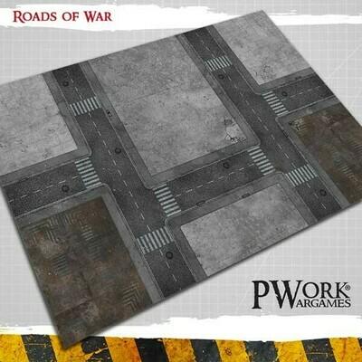 Roads of War 4'x6'- Wargames Terrain Mat Rubber- PWork Wargames