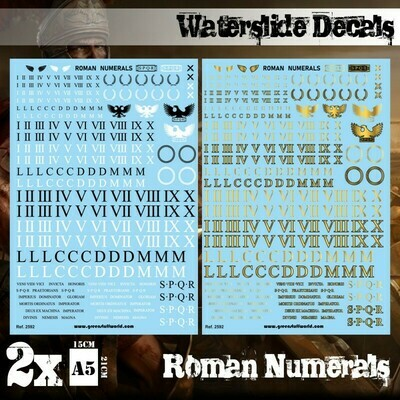Waterslide Decals - Roman Numerals - Decals - Greenstuff World