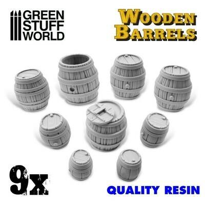 9x Resin Wooden Barrels - Greenstuff World