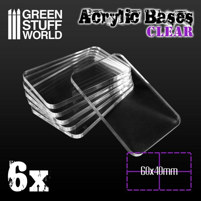 Acrylic Bases Acrylic Square Clear - Square 60x40mm CLEAR - 6x