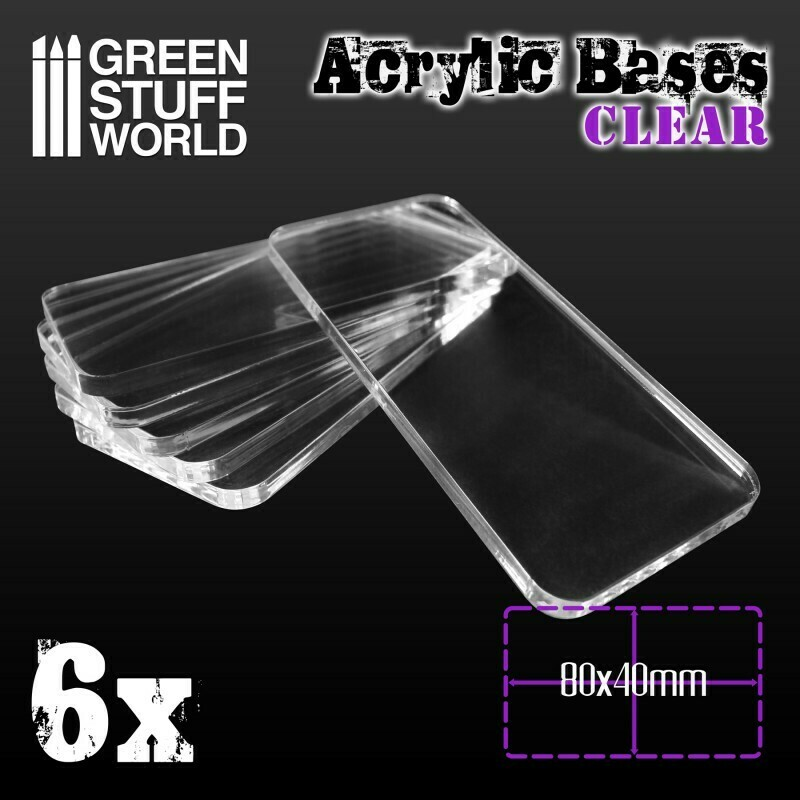 Acrylic Bases Acrylic Square Clear - Square 80x40mm CLEAR - 6x