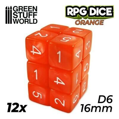 12x W6 16mm Spielwürfel - Orange D6 Dice - GSW